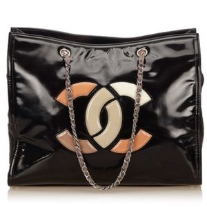 Chanel patent leather lipstick Ligne CC Logo tote